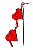 Valentine-harten in gevaar Stock Foto