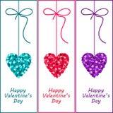 Valentine-harten met een boog. De dagillustratie van de hartvalentijnskaart. Stock Foto's