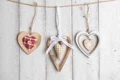 Valentine-harten op houten achtergrond Royalty-vrije Stock Foto