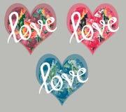 Valentine-hartenprentbriefkaaren met bloemendruk Stock Afbeeldingen
