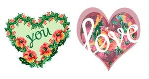 Valentine-hartenprentbriefkaaren met bloemendruk Royalty-vrije Stock Afbeelding