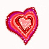 Valentine heart. Many-colored valentine heart with some milk splashes Royalty Free Stock Image