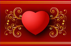 Valentine heart. Valentine's day greeting card with heart on red background - vector available Royalty Free Stock Photo