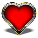 Valentine Heart. Isolated  valentine heart, decorated with diamonds Royalty Free Stock Images
