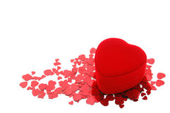 Valentine heart. Red heart shape gift box for valentine's day Stock Photos
