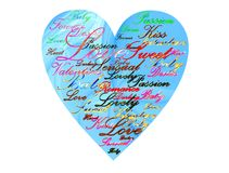 Valentine heart. With blue tech background and romantic words Royalty Free Stock Image