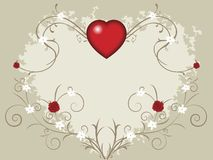 Valentine heart. Valentine background with big heart, roses and small flowers on vines Stock Image