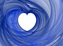 Valentine heart. Valentines abstract heart shape, blue spiral swirl over white background Stock Photography