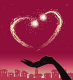 Valentine heart. Vector illustration of heart shape fireworks at night sky royalty free illustration