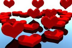 Valentine heart. Valentine red heart on the mirror reflection Stock Photo