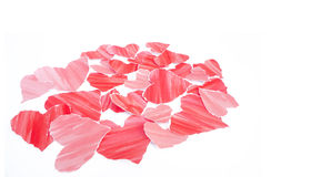 Valentine heart. Red hearts confetti Valentines day on White background Stock Photo