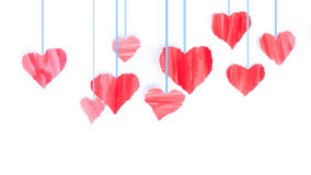 Valentine heart. Red hearts confetti Valentines day on White background Stock Photography