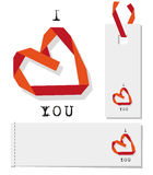 Valentine heart. Valentine gift tags , red heart folded paper ribbon Stock Photos