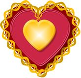 Valentine heart 3. This illustration that I created depicts a red Valentine heart with gold trim Royalty Free Stock Photography