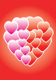 Valentine heart. Vector image of rosy and red hearts Royalty Free Stock Images