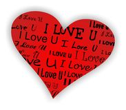 Valentine Heart. Heart background with i love you text Royalty Free Stock Photo