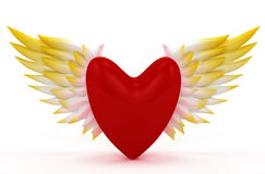 Valentine heart with angel wings Stock Photos
