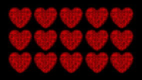 Valentine Heart Animation. An animation that pulls back to reveal three rows of beating hearts stock footage
