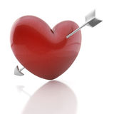 Valentine heart with arrow. Red heart pierced by an arrow of Cupid Royalty Free Stock Images