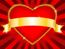Valentine heart background. Beautiful love background: bright red heart shape billboard with shiny gold frame and gold ribbon, sparkles and sunbursts, perfect Royalty Free Stock Photos
