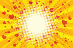 Valentine heart background pop art retro Stock Images