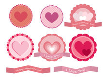 Valentine heart badges Royalty Free Stock Image