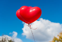 Valentine heart balloon on blue sky background Royalty Free Stock Photography