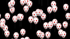 Valentine heart balloons seamless loop video with alpha matte stock footage