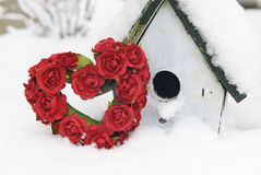 Valentine Heart and Birdhouse In Snow Royalty Free Stock Image
