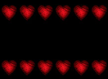 Valentine Heart Border Background. Fiery red heart border on black background Stock Photography