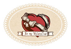 Valentine heart with a bow-knot Royalty Free Stock Photography
