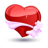Valentine heart with a bow-knot Royalty Free Stock Image