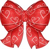 Valentine Heart Bow With Ribbons. A gorgeous red valentine heart bow with ribbons. Perfect for love romance and holiday Stock Photos
