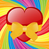 Valentine heart with bow on swirl background Stock Image