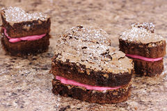 Valentine Heart Brownies Stock Photo