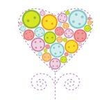 Valentine Heart With Buttons Images libres de droits