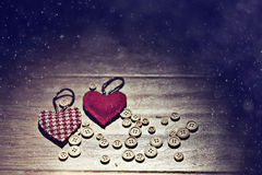 Valentine heart among buttons royalty free stock image