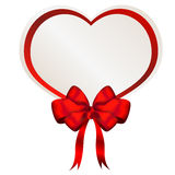Valentine heart bwith bow and ribbon Stock Images