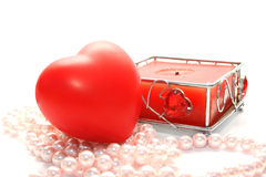 Valentine heart and candle Royalty Free Stock Images