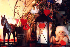 Valentine heart candle toy. Decor with wooden color deer and candle retro stock image