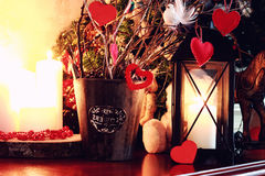 Valentine heart candle toy. Various decorations on the wooden table ornaments for New Year stock photo