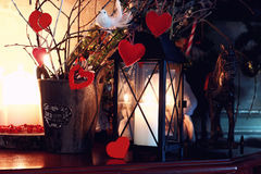 Valentine heart candle toy. Various decorations on the wooden table ornaments for New Year stock photography