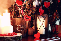 Valentine heart candle toy. Various decorations on the wooden table ornaments for New Year royalty free stock photos