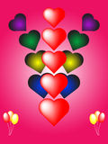 Valentine heart card. Valentine card heart design with balloons Stock Images