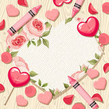 Valentine heart card with candies and rose petals. Vector eps-10. Royalty Free Stock Image