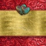 Valentine Heart Card en cuir rouge Photos libres de droits