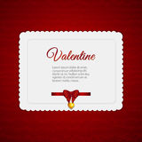 Valentine heart card with ribbon Stock Images