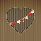 Valentine heart cardboard cut out with bunting Stock Photo