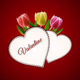 Valentine heart cards and tulips Stock Image