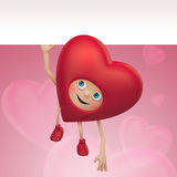 Valentine heart cartoon flying with white banner Royalty Free Stock Image